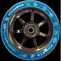 Колесо для самоката  Комета Старт 110 мм (Прозрач.синий/хром.черный)